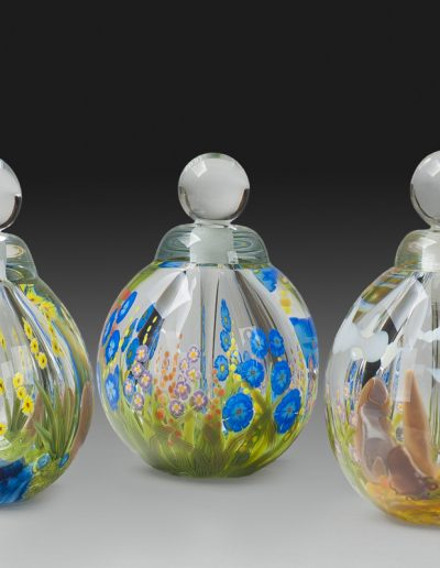 """Yellow Flowers and Stream"", ""Wild Flower"", ""Yucca and Rock"" Perfume Bottles"